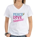 Peace Love and Happiness Women's V-Neck T-Shirt