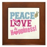 Peace Love and Happiness Framed Tile