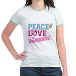 Peace Love and Happiness Jr. Ringer T-Shirt