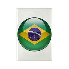 Brazil Flag Jewel Rectangle Magnet