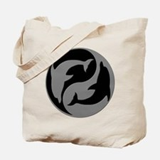 Grey And Black Yin Yang Dolphins Tote Bag