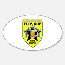 Delaware Flip Cup State Champ Oval Decal