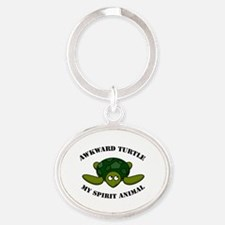 Cute Funny turtle Oval Keychain
