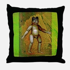 Green Burmese Boy Doll & Coral Throw Pillow