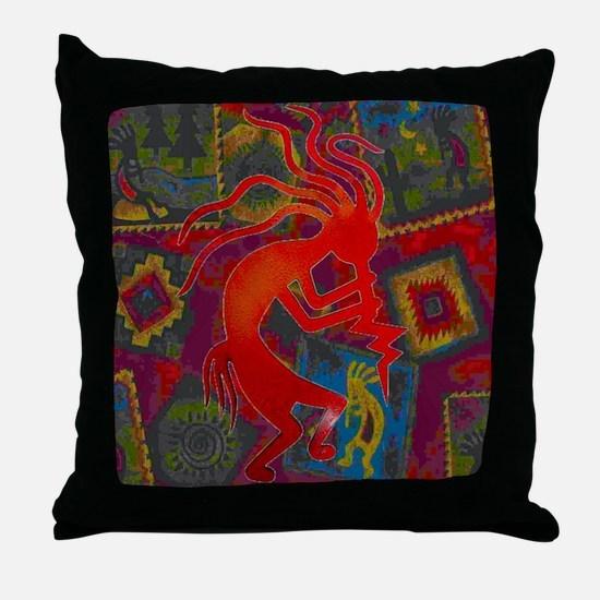 Red Kokopelli Throw Pillow