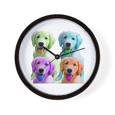 Golden Retriever Warhol Wall Clock