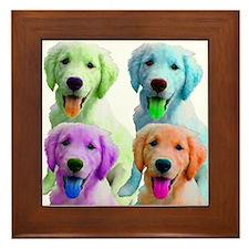 Golden Retriever Warhol Framed Tile