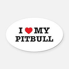 I Heart My Pitbull Oval Car Magnet