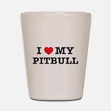 I Heart My Pitbull Shot Glass