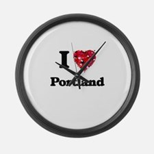 I love Portland Oregon Large Wall Clock