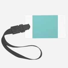 solid blue background with small Luggage Tag