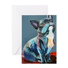 Cute Bulldog painting Greeting Card