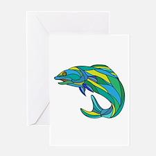 Atlantic Salmon Jumping Drawing Greeting Cards