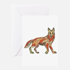 Coyote Side Isolated Drawing Greeting Cards