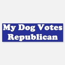Dog Votes Repub Blue Bumper Car Car Sticker