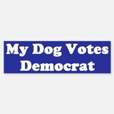 Dog Votes Dem Blue Bumper Bumper Bumper Sticker