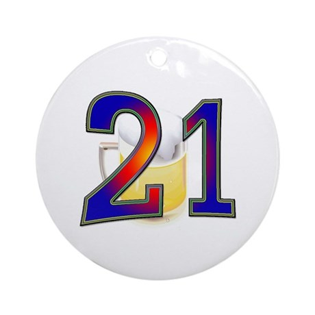 21st Birthday Beer Ornament (Round)