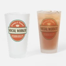 social worker vintage logo Drinking Glass