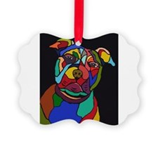 Psychedelic Pit Bull Dog Blackie Ornament