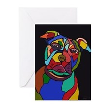 Psychedelic Pit Bull Dog Blackie Greeting Cards