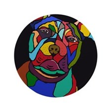 """Psychedelic Pit Bull Dog Blackie 3.5"""" Button (100"""