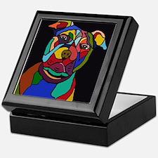Psychedelic Pit Bull Dog Blackie Keepsake Box