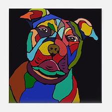 Psychedelic Pit Bull Dog Blackie Tile Coaster