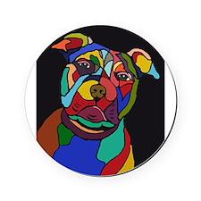 Psychedelic Pit Bull Dog Blackie Cork Coaster