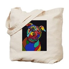 Psychedelic Pit Bull Dog Blackie Tote Bag
