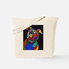 Psychedelic Pit Bull Dog Blackie Tote Bag