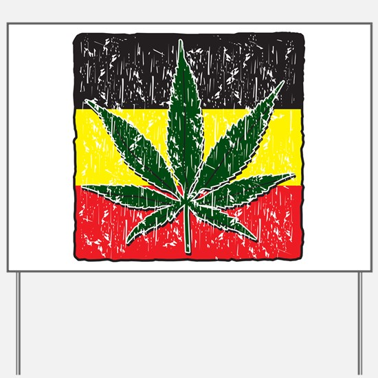 Rasta Pot Leave Flag Yard Sign