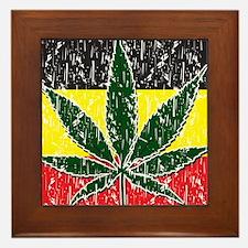 Rasta Pot Leave Flag Framed Tile