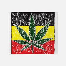 Rasta Pot Leave Flag Throw Blanket
