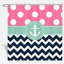 Pink Navy Mint Anchor Shower Curtain