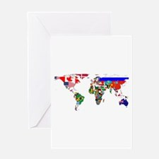 World Map With Flags Greeting Cards