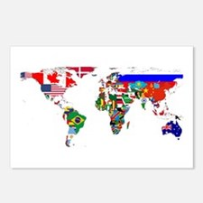 World Map With Flags Postcards (Package of 8)