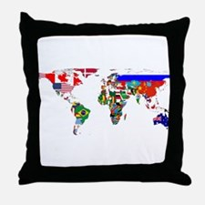 World Map With Flags Throw Pillow