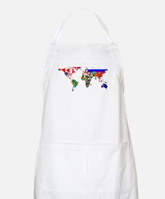 World Map With Flags Apron