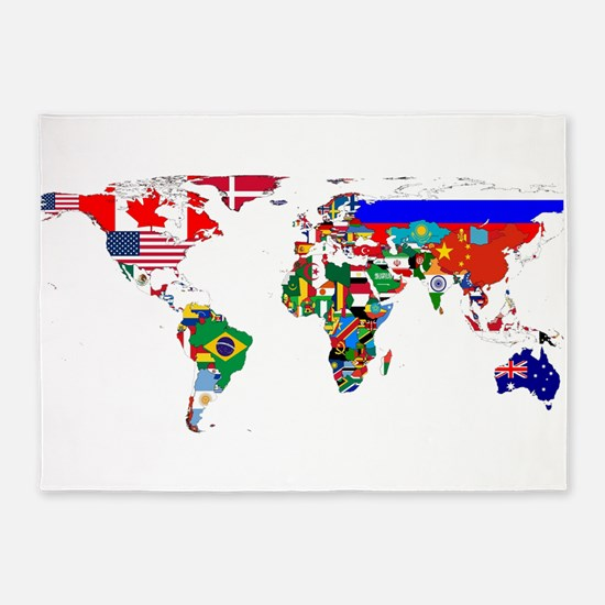 World Map With Flags 5'x7'Area Rug