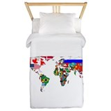 Map of the world Luxe Twin Duvet Cover