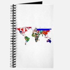 World Map With Flags Journal