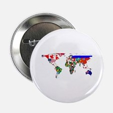 """World Map With Flags 2.25"""" Button (100 pack)"""