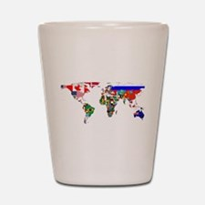 World Map With Flags Shot Glass