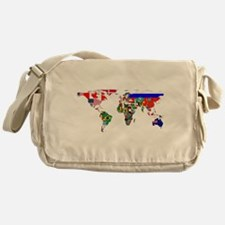 World Map With Flags Messenger Bag