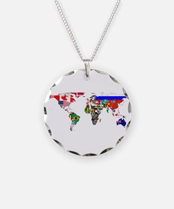 World Map With Flags Necklace