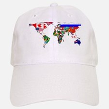 World Map With Flags Baseball Baseball Baseball Cap