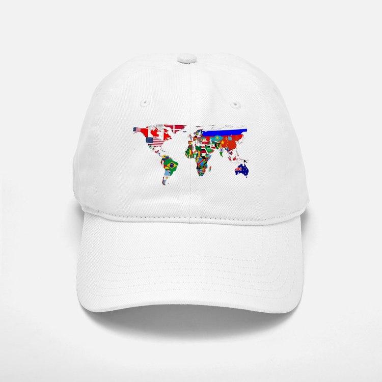 World Map With Flags Baseball Baseball Baseball Cap