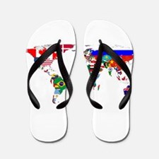World Map With Flags Flip Flops