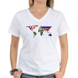 World map Womens V-Neck T-shirts
