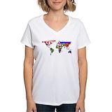 World map Womens V-Neck T-shirts